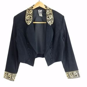 Black Cropped Blazer Gold Paisley Embroidery 8